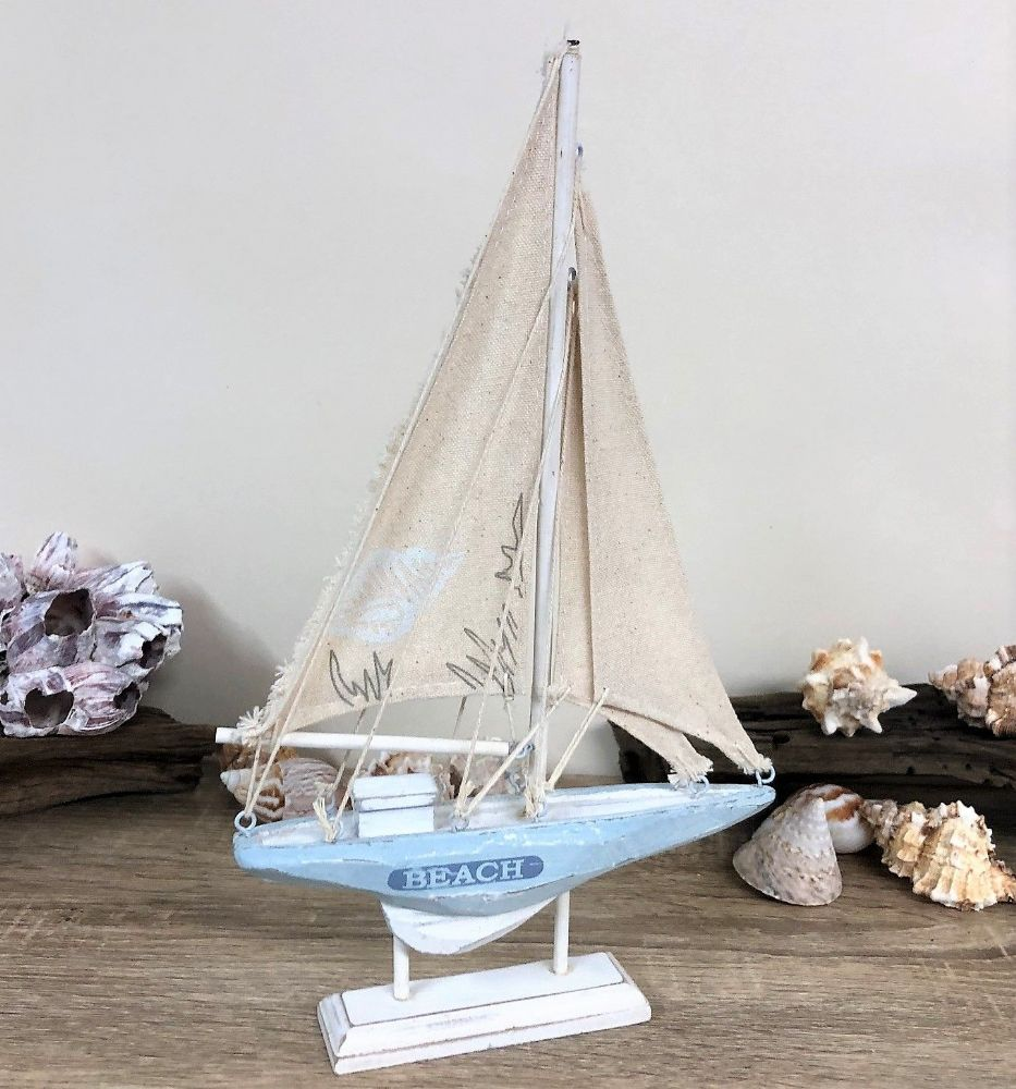 Blue & White 30cm BEACH Distressed Boat Nautical Ornament